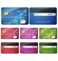 Set of realistic credit card two sides isolated on vector