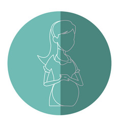 Silhouette pregnant woman belly maternity vector