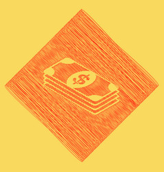 Bank note dollar sign  red scribble icon vector