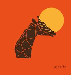 Giraffe head geometric lines silhouette isolated vector