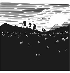 Comic strip tourists at night climb mountains vector