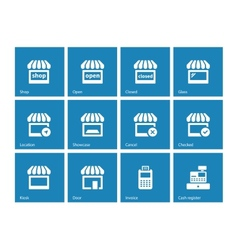 Shop icons on blue background vector