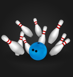 Bowling pins and bowl vector