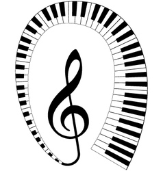 Treble clef with keyboard vector