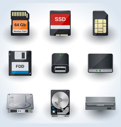 Data storage icon collection vector