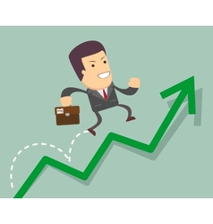Businessman jump over growing chart vector