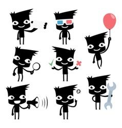 set of funny cartoon man vector image