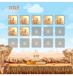 Stone and rocks desert game background with user vector