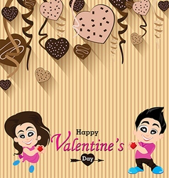 Valentines day and lovers on heart chocolate party vector