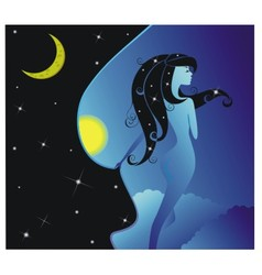 Night girl vector image