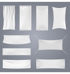 White blank textile advertising banners vector