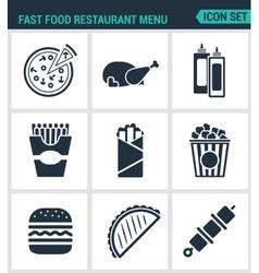 Set modern icons fast food restaurant menu vector