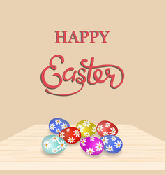 An inscription with the wish of happy easter vector