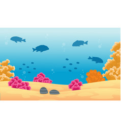 Beauty landscape ocean with fish and reef vector