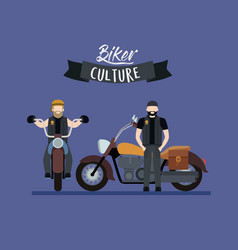 Biker culture poster with pair of men in classic vector