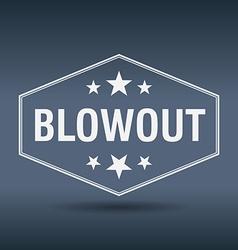 Blowout hexagonal white vintage retro style label vector
