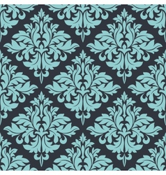 Blue on grey damask seamless pattern vector
