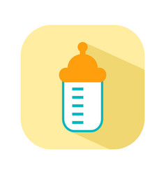 bottle with a nipple for feeding flat color icon vector image vector image