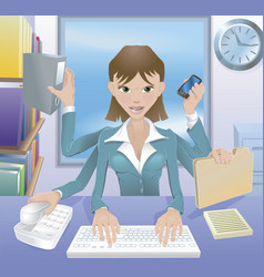 Business woman multitasking vector