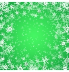 Christmas background of snowflakes in green colors vector image