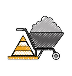 Construction wheelbarrow with cement and cone vector