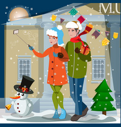 couple in winter clothes making selfie vector image vector image