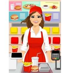 Female cashier at fast food restaurant vector