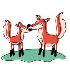 Fox couple over grass in watercolor silhouette vector