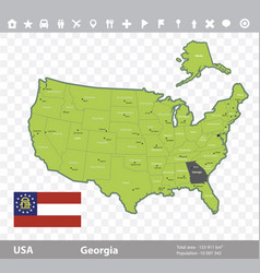 Georgia flag and map vector