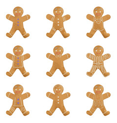 gingerbread man holiday cookie set christmas vector image vector image