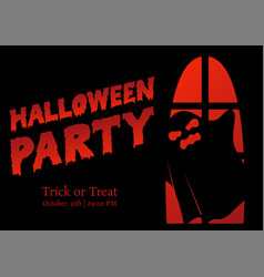 halloween party silhouette greeting vector image vector image