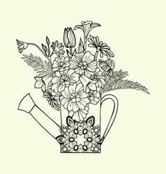 Hand drawn decorated image watering can with flowe vector