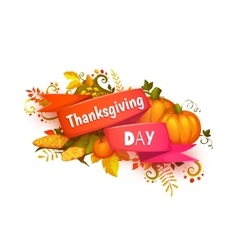 Happy thanksgiving day banner with ribbon and vector image