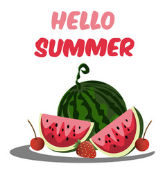 hello summer greeting card vector image