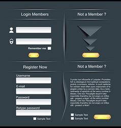 Login and register web screens vector image vector image