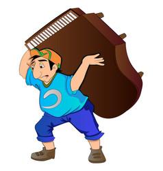 Man lifting a piano vector