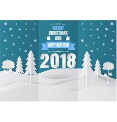 paper art style snowflake and tree for christmas vector image