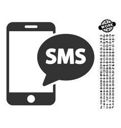 phone sms icon with people bonus vector image vector image