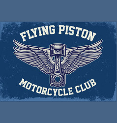 Piston with wing in grunge textured vector