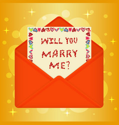 Postcard with message will you marry me vector