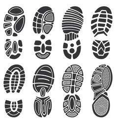 Running sport shoes footprint set vector