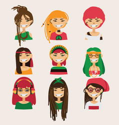 Set with lovely rastafarian girls vector