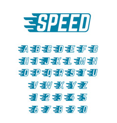 speed flying alphabet fast symbols vector image