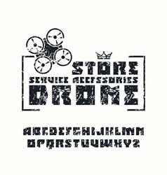 Square sanserif font and drone store emblem vector
