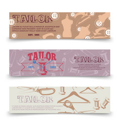 Tailor horizontal banners template with tailor vector