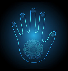 technology cyber security light hand palm vector image