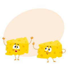 Two funny cheese chunk characters showing thumb vector