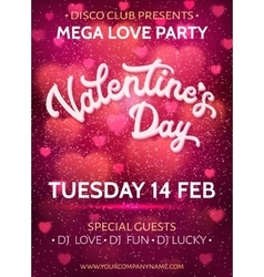 Valentines Day party poster with 3d hand lettering vector image