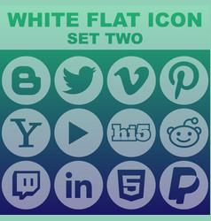 White flat icon set two image vector