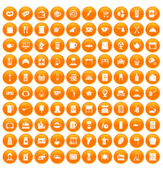 100 kitchen utensils icons set orange vector